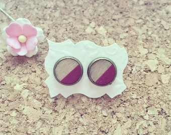 Round earrings in raspberry, wood type, district, pink graphic