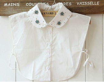 Detachable collar of off white shirt and rhinestones REF 1822