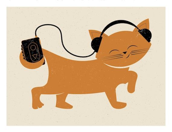 Kitty with Headphones