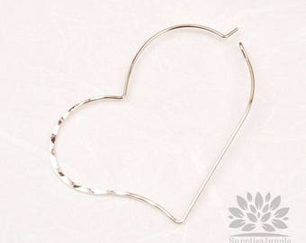 A357-01-S// Glossy Rhodium Plated Half Hammered Heart Hook, 4pcs