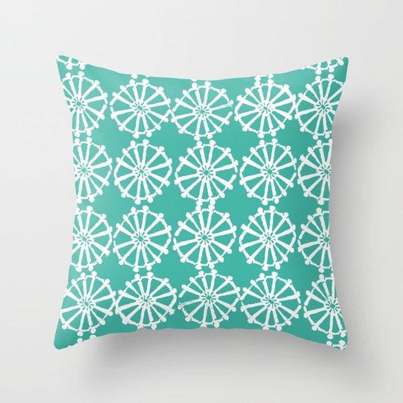 OUTDOOR Throw Pillow . Turquoise Outdoor Pillow . Turquoise patio cushion . Modern Geometric Pillow Wheel . 16 18 20 inch . Lumbar Pillow