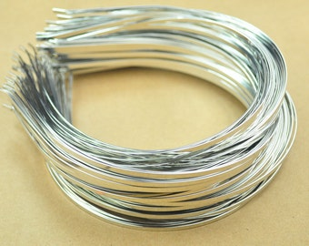 Silver Headbands,100pc 3mm(1/8 inch)silver plated Metal Headbands,Thin, with bent ends for best comfort,Wholesale,plain and simple.