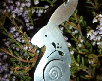 Mistletoe Hare Pendant, Jewellery Silver, Free Shipping SquareHare, UK, Vegan celtic winter xmas wildlife druid magical origonal handfasting