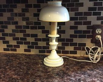 Vintage White Metal Lamp With Yellow Trim