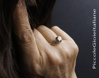 925 ring silver nugget ring minimal ring handmade nugget silver Fusion 925 ring Unisex Stackable Ring