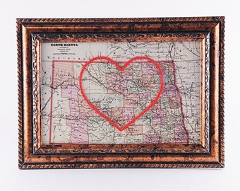 North Dakota Hand Embroidered Heart Map, North Dakota Map Art, Paper, Cotton Anniversary, Wedding, Christmas Gift, Travel, Love, Engagement