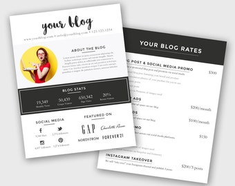 Blogger Media Kit and Rate Kit Template - Photoshop PSD *INSTANT DOWNLOAD*