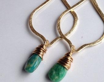 Russian Amazonite, Gold Brush over Copper, Dangle Earrings, Drop Earrings, Teardrop Earrings, Blue Green Briolettes
