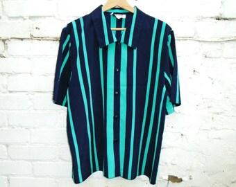 Vintage Blouse - Short Sleeved - Striped - 90's - Blue