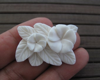 Gorgeous Hand carved  Plumeria, Tropical Flower, Embellishment, Natural Component, Jewelry making Supplies B6361