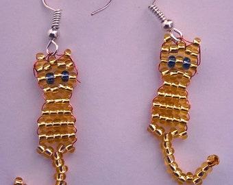 Golden Cat bead earrings