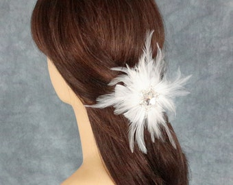 Bridal Clip, Bridal Headpiece, Feather Headpiece, Snowflake Headpiece, Winter Wedding, Bridal Hairclip, Best Friend Bridal144P