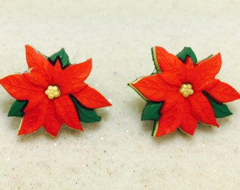Red Poinsettia Earrings, Christmas Flower Earrings, Poinsettia Earrings, Christmas Stud Earrings, Red Christmas Earrings, Christmas Jewelry