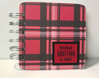 Red Plaid Adulting Password Book