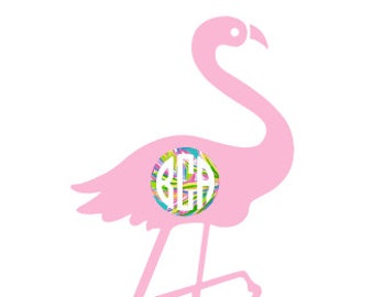 LILLY PULITZER Inspired Flamingo MONOGRAM Quality Vinyl Decal, Car decal, Yeti Decal, Tumbler Decal, Gifts for Her, Fast shipping!