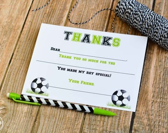 Kids Fill In the Blank Soccer Thank You Notes / Kids Thank You Notes / Childrens Soccer Thank You Note Cards / Fill In The Blank Notes