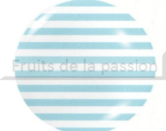 Set of 2 beach vacation, white and blue glass round cabochon