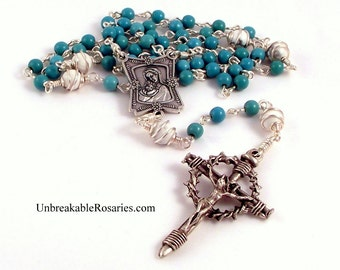 Rosary Beads Virgin and Child In Turquoise and White Magnesite With Nail Crucifix by Unbreakable Rosaries