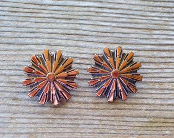Retro Vintage RENOIR Copper Earrings, Copper Clip Earrings, Renoir Earrings, Renoir Jewelry, MCM Copper Jewelry