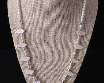 Pink Shell Leaves & Silver Necklace