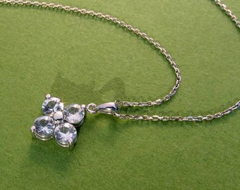 SALE - White Sapphire 14k Gold Clover Necklace - Free Shipping