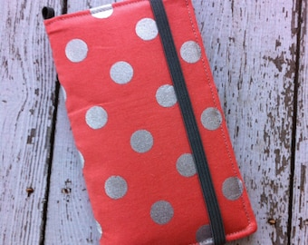 Coral and silver polka dot iPhone wallet case with removable gel case