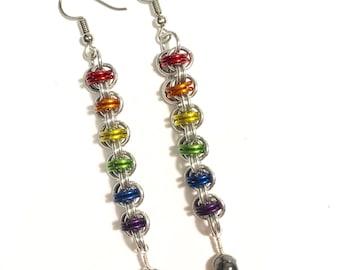 Rainbow Chainmail Ladder Earrings
