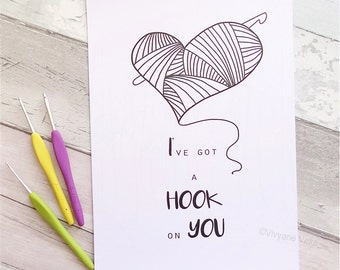 """Poster A4 """"I've got a hook on you"""" • Gift for crocheter • Inspirational quote poster • Black and white poster • Graphic poster"""