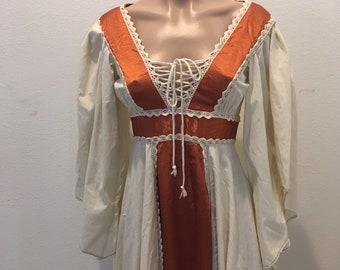 Vintage Gunne Sax Dress Corset Boho Festival 1970s