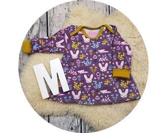 Tunic, baby tunic, American neckline, long sleeve tunic, long sleeve, gift, baby, Mitwachstunkia, Bunny, flowers, bunny, hedgehog, purple