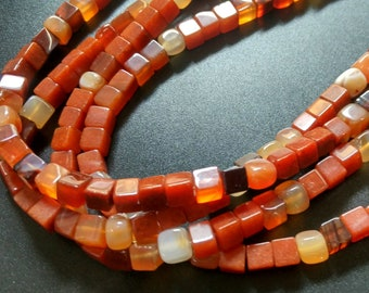 Natural Red Carnelian Cube beads,Red Agate Stone cube beads 6x6x6mm- approx 65pcs/Strand