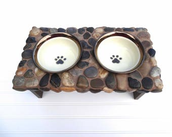 Small Stone Elevated Dog Feeder, messy eater feeder, raised dog bowls, a day at the beach series 2