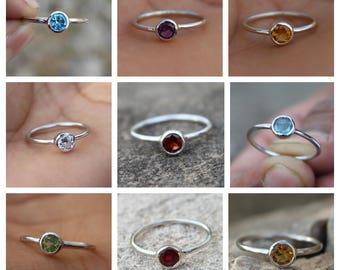 925 Sterling Silver - Birthstone Ring - Blue Topaz - Citrine - Amethyst - Peridot - Garnet - Ruby(GF) - Labradorite - Zircon - Ring Jewelry