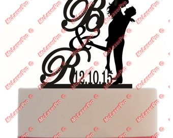 Cake Topper Custom Silhouette of Man Holding Woman With Personalized Initials, Date, choice of color