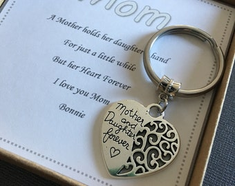 Mother's Day gift, Mother Daughter Gift,  Mother of the Bride Gift, I love you Mom, Mom keychain, Gift For Mom, Wedding day gift for mom