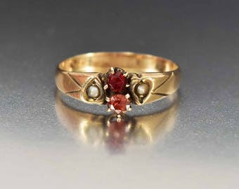 Antique 12K Gold Garnet Ring | Pearl Heart Edwardian Ring | Wedding Band Ring | Antique Pearl Ring | Birthstone Stacking Ring | Heart Ring