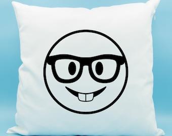 Nerd Face Emoji Pillow - Nerd Face Emoji Cushion - Nerd with Glasses Emoji Pillow - Buck Teeth Emoji - Nerd Emoji Cushion Cover 16x16