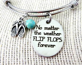 No Matter the Weather Flip Flops Forever Bangle Bracelet or Necklace  - Toes In the Sand Collection