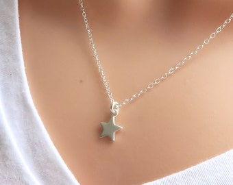 Silver Star Necklace, Sterling Silver - layering - minimalist - simple - celestial jewelry