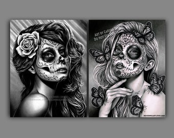 Set Of TWO Separate Day of the Dead Portrait Art Prints - Duality and Mariposa Set - 5x7, 8x10, or apprx. 11x14 in Prints