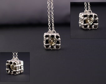 Breaking Out One-of-a-kind fine and sterling silver with heart shpped CZ Necklace