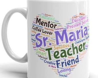 Teacher custom coffee mug, Word Cloud mug, teacher appreciation gift