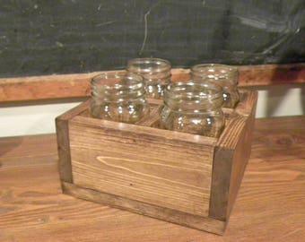 Rustic Square centerpiece with mason Jars,  Table decor, Planter box, Wedding center piece