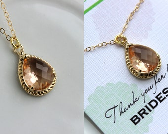 Gold Champagne Blush Necklace - Peach Wedding Necklace Jewelry Bridesmaid Gift Jewelry - Pink Bridal Jewelry Blush Bridesmaid Gift Under 30