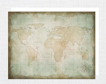 Old World Map Note Cards