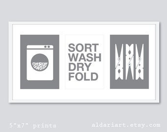 Laundry Art Prints - Laundry Room Wall Art - Laundry Decor - Modern Decor - Wash Dry Fold Prints - Grey and White - Gray and White Laundry