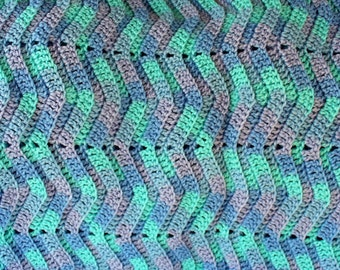 Blue Wave Afghan