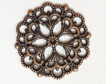 10pcs of Antique copper  filigree focal pendant 29mm, Antique copper filigree connector
