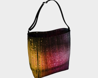 Rainbow day tote bag with pixels yellow green pink