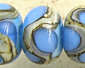 Blue Lampwork Glass Bead Spacer Set of 6 with Organic Silvered Ivory Web Small 11x7mm